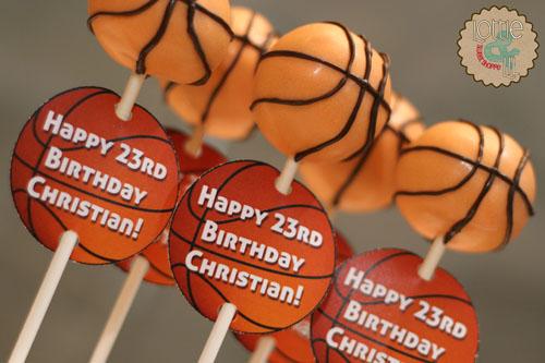 Basketball Birthday Cake Pops