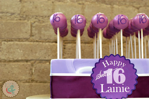 Purple Sweet 16 Cake Pops