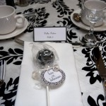 B&W Damask Cake Pop Wedding Favours