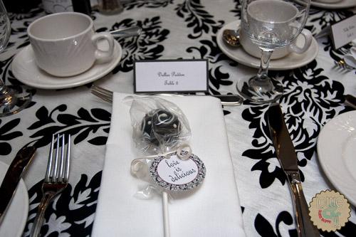 B&W Damask Cake Pop Wedding Favours