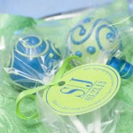 Green and Blue Wedding Favour Cake Pops