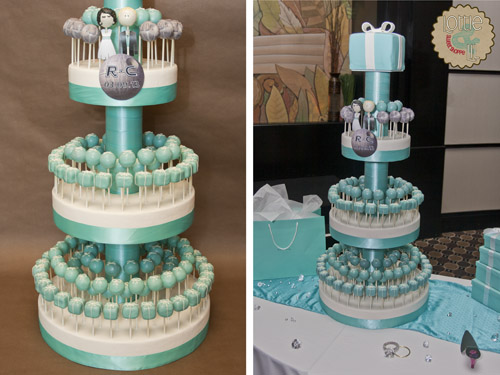 Tiffany and Death Star Wedding Cake Pops