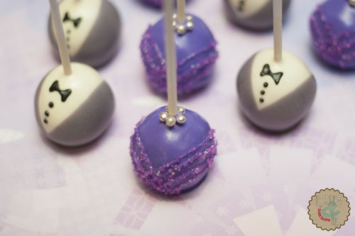Purple Bride and Grey Groom Cake Pops