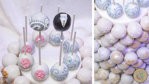 White and Gold Cake Ball Cake
