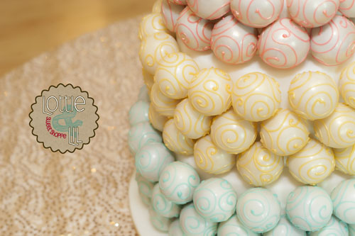 Blue Gold and Pink Swirl Cake Ball Wedding Cake